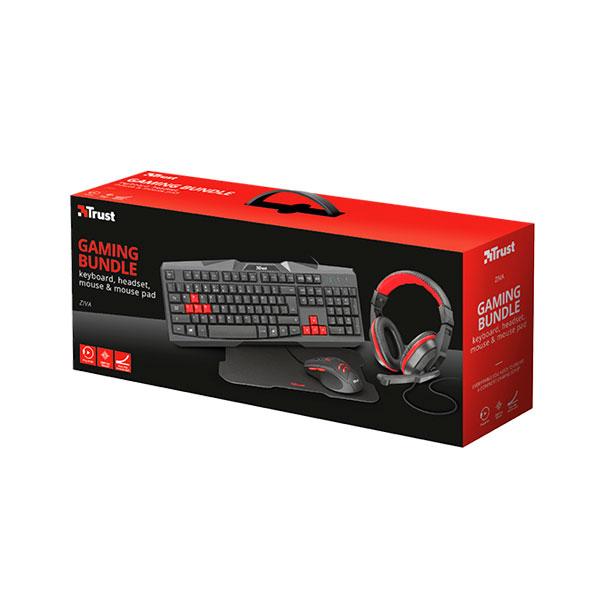 Combo 4 en 1 Gamer Trust Ziva Teclado+Audifono+ Mouse + Pad Mouse 22312