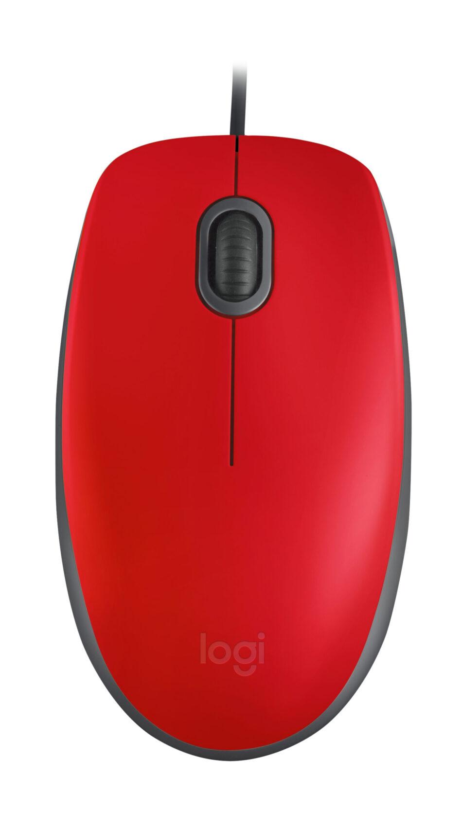 Mouse Logitech M110 Silent Rojo Alámbrico