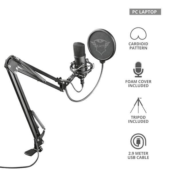Micrófono Trust Gxt 252 Plus Emita Streaming con brazo ajustable