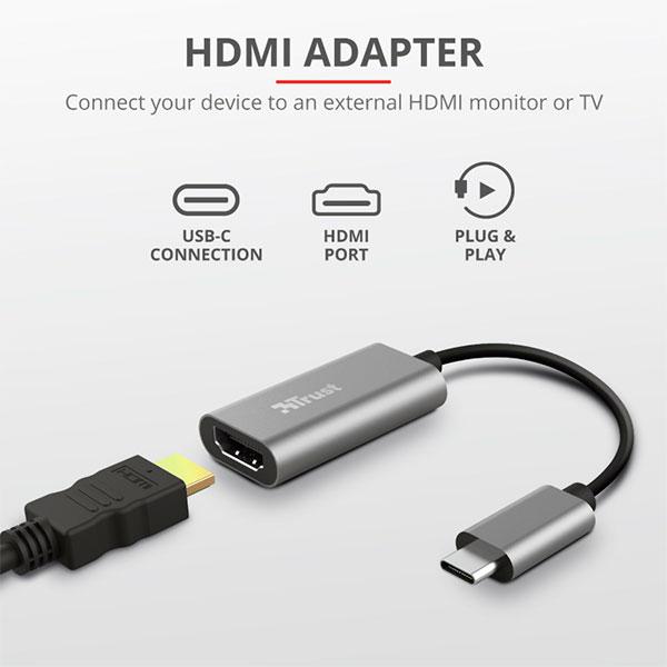 Adaptador Trust USB-Tipo C a HDMI