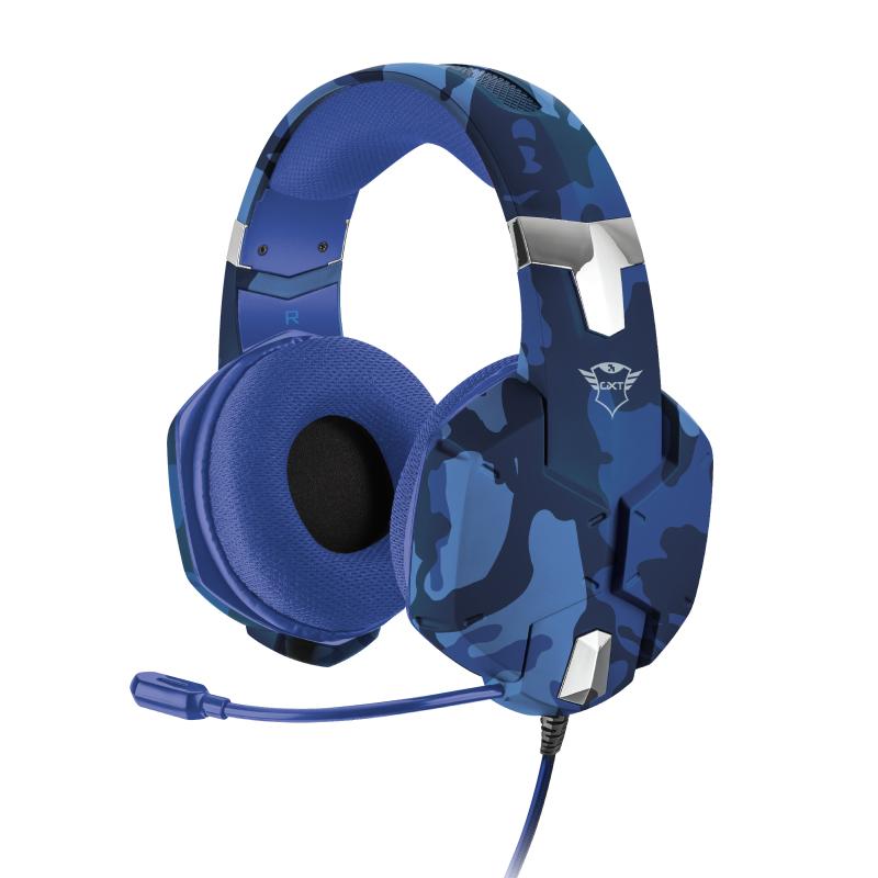 Audífono Gamer Trust Gxt 322B Azul Camuflado CARUS