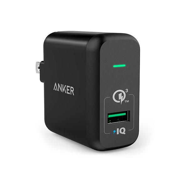 Cargador Pared Usb Anker Negro PowerPort + 1 con Quick Charge 3.0 18w A2013J11