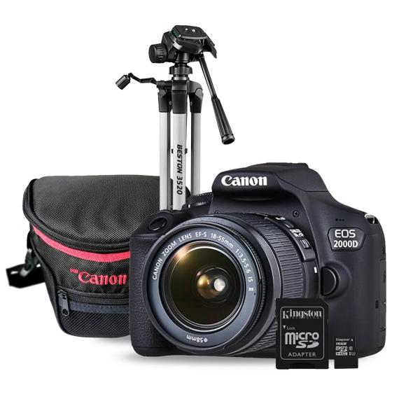 Combo Cámara Canon 2000D Trípode- Memoria Micro SD- Estuche